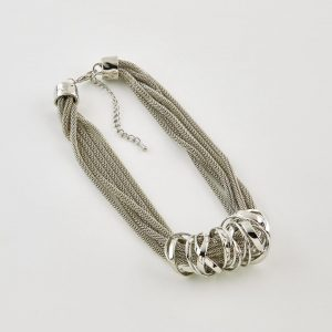 Silver Colour Multistrand Necklace with Rings by Dante