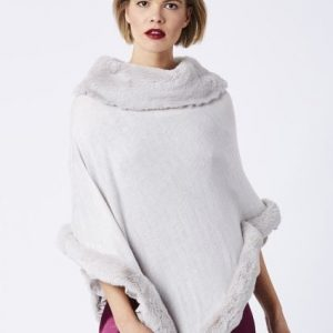 Jayley Faux Fur Trim Poncho in Silver