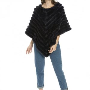 Cashmere Blend Faux Fur Poncho in Navy