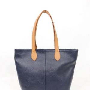 Italian leather tote in navy