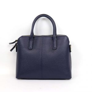 Italian Leather Small Tote Bag with cross body strap in navy