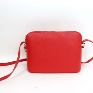 Italian leather small cross body bag in red