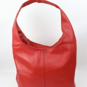 Italian leather slouch handbag in grained leather in red