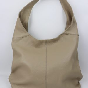 Italian leather slouch handbag in taupe grained leather