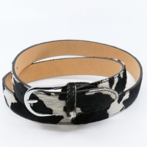 Animal Print Adjustable leather Belt in Cow