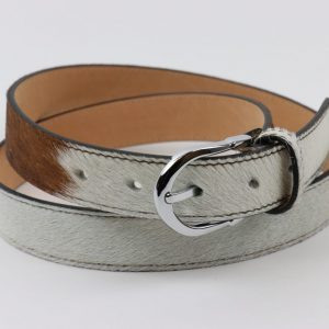 Animal Print Adjustable Leather Belt in Pony