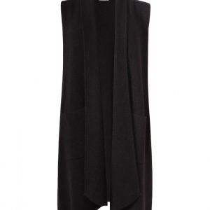 heavy knitted long gilet in black