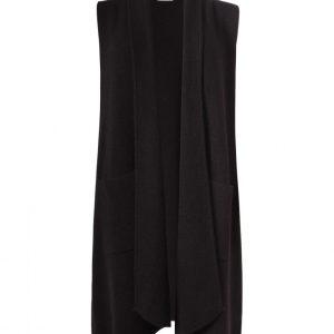 heavy knitted long gilet in black