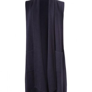 heavy knitted long gilet in navy