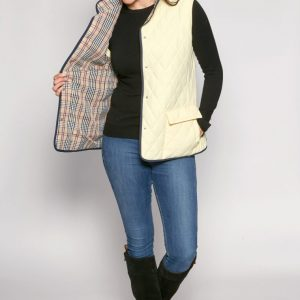Diamond Quilt Check Lined Gilet in Primrose