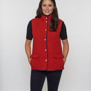 Diamond Quilt Check Lined Gilet in Red