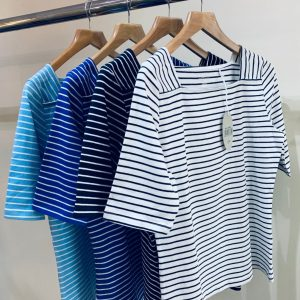 Boat Neck Striped T Shirts