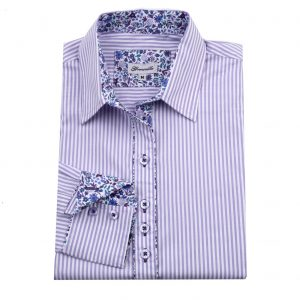 lilac striped fitted shirt