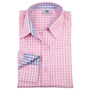 Ladies Checked Shirt in pink