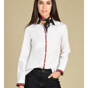 Ladies Shirt with a Tartan trim