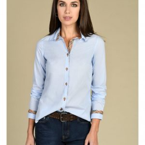 Pale Blue Shirt with Burberry Style trim