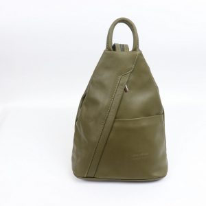 italian leather Backpack in Olive